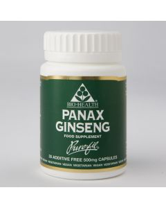 Bio Health Panax Ginseng 500Mg - 30 Vegetable Capsules
